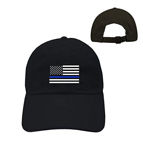 Strapback cap THIN BLUE LINE FLAG POLICE LIVES MATTER COPS OFFICER dad hat USA PATRIOTIC (Black)