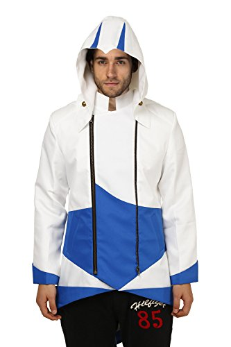 Goodsaleok Cosplay Jacket with Detachable Hood, Men-Large, White and ()