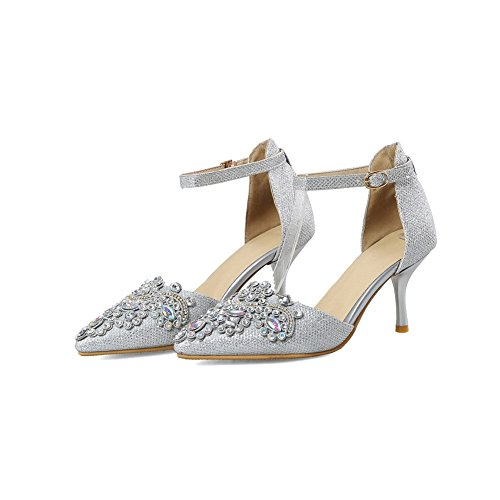 BalaMasa Womens Embroidered Dress Cold Lining Urethane Sandals ASL04884 Silver joL4pUImVf