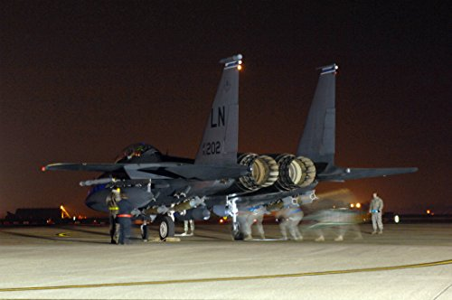 Home Comforts Laminated Poster Maintainers from The 48th Aircraft Maintenance Squadron Make Final Checks on an F-15E Strike Eagle p Vivid Imagery Poster Print 24 x 36