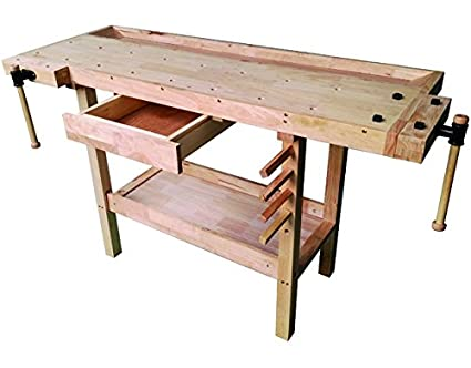 vigor 4894510 wooden work bench brown amazon co uk diy tools rh amazon co uk wooden work table on wheels wooden work table with drawers