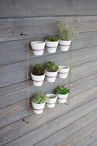 - Kalalou H3218 S/9 White WASH Clay POTS ON Copper Finish Wall Rack