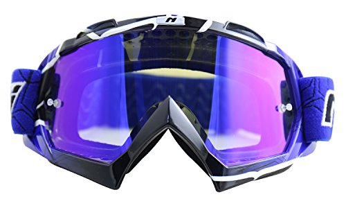NENKI MX Goggles NK-1019 Motocross ATV Off Road Dirt Bike Goggles For Unisex Adult (Techline Blue,Iridium Blue Lens)