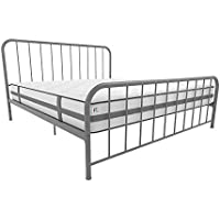 Novogratz Bellamy King Metal Bed with Adjustable Height, Grey