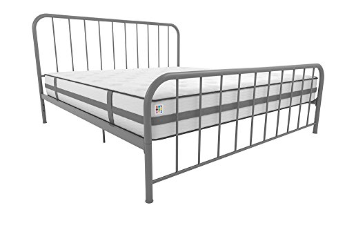 - Novogratz Bellamy Metal Bed Frame with Under Bed Storage, Grey, King