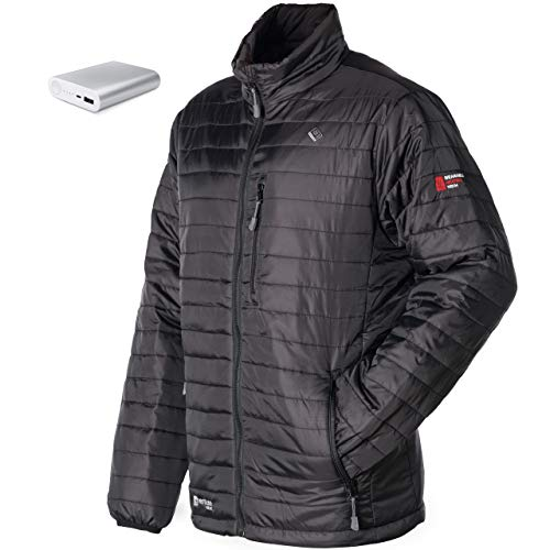 Venture Heat Men's Heated Jacket with Battery 12 Hour - The Traverse Packable Puffer Heated Jacket for Men (X-Large) Black ()