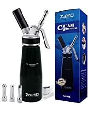ZOEMO Profesional Whipped Cream Dispenser - Ugraded Full Metal Cream Whipper Canister, w/Durable Metal Body & Head with 3 Stainless Steel Decorating Tips