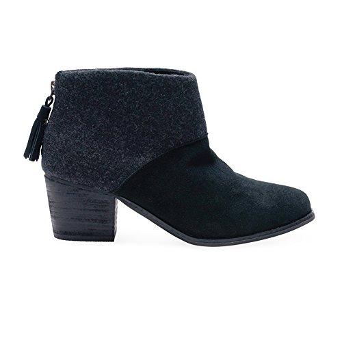 Toms Leila Black Wool Felt Booties 10006204 Women (Black Mens Booties)