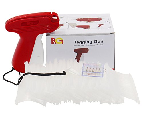 "PAG New Upgrade Fine Tagging Gun Price Tag Attacher Gun for Clothing with 6 Needls and 2000 2"" Barbs Fasteners, Red"