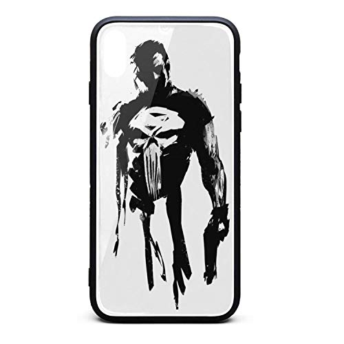 (The-Punisher- Phone Case for iPhone X/XS Full Body Protection TPU Rubber Shockproof Anti-Scratch Fashionable Glossy Anti Slip Thin Case)