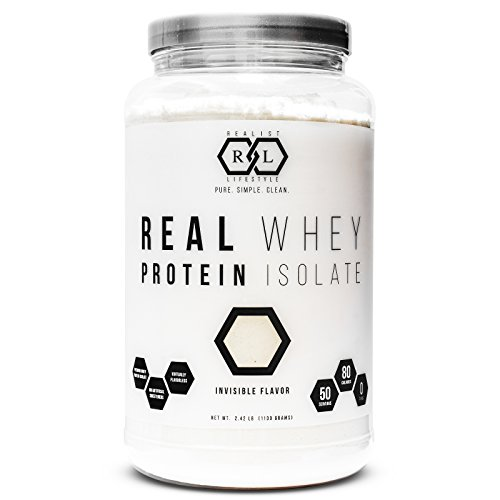 Realist Lifestyle REAL Whey Protein Isolate, Invisible Flavor, Clean Ingredients, 2.42 Pounds, 50...
