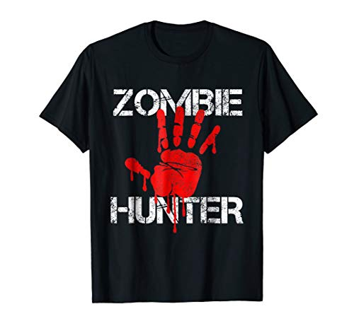 Zombie Hunter T-Shirt Halloween Hunting Blood Hand Outfit