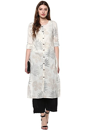 Janasya Indian Tunic Tops Cotton Kurti for Women (JNE2171-KR-437-L) Off-White