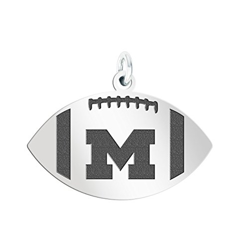 (College Jewelry University of Michigan Wolverines Sterling Silver Antiqued Football Cut Out)
