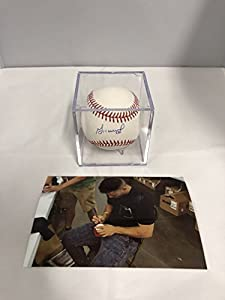 Jose Altuve Autographed Signed Houston Astros Official MLB Baseball GTSM Player Hologram & COA Card With Display Case and photo from signing