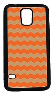 Blueberry Design Samsung Galaxy S5 Case Zigzag Wave Design Orange and Taupe - Ideal Gift