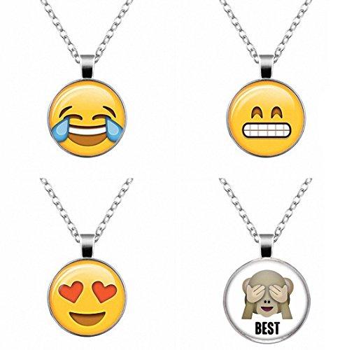 Emoji Necklace Glass Cabochon Pendant - Set of 4