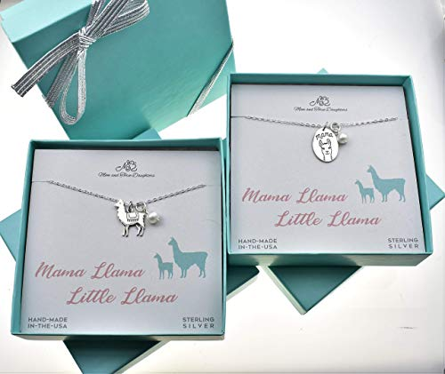 Mother And Daughter Mama Llama And Little Llama Necklace Set, Mother Daughter Necklace -