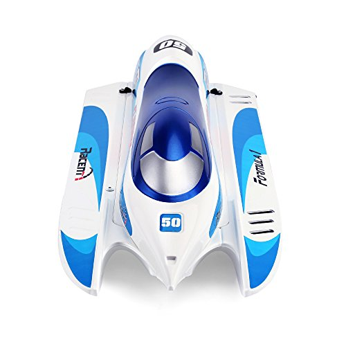 FUNTECH RC Boats Professional Racing Boat 2.4ghz High Speed RTR (Ready to Run) Electric 50km/h+ Remote Control Boat with Auto Righting, Fit for Freshwater Pools Lakes Rivers,Blue