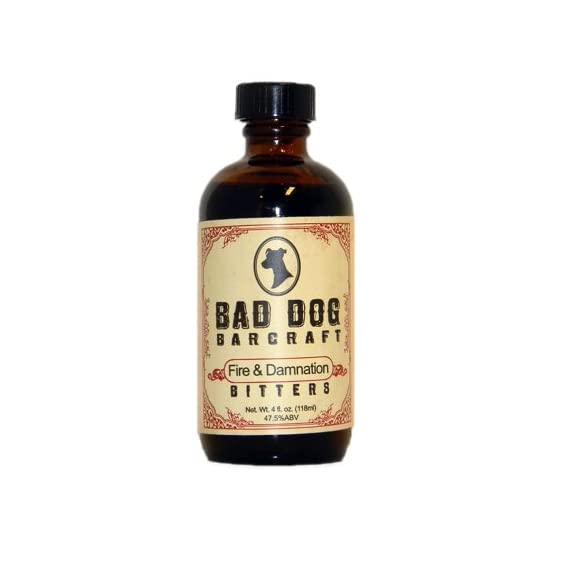 """Bad Dog Barcraft Fire and Damnation Bitters 4oz. 1 A Bad Dog take on a historical recipe, first found in """"The Gentlemen's Companion"""" by Charles Baker Jr in 1939. In measured doses adds the right amount of h"""