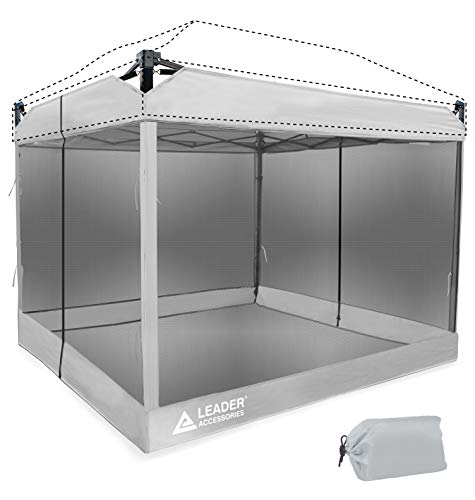 Leader Accessories Mesh Screen Zippered Wall Panels for 10 x 10 Canopy (Tent Walls Only, Frame and Top Not Included) (Silver mesh Wall)