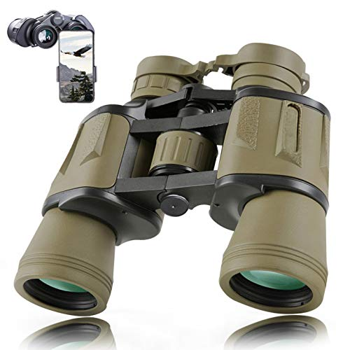 8x40 Military Binoculars for Adults with Smartphone Adapter - HD Binoculars for Bird Watching Hunting Hiking Sightseeing Golf Travel Concert Game with BAK4 Prism FMC Lens Black, Mud