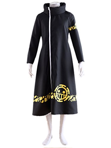 [Mufou Death Surgeon Trafalgar Long Robe Cosplay Costume] (Black Full Cut Robe Costumes)