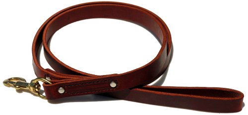 Signature K9 Heavy Leather Leash, 5-Feet x 7/8-Inch, Burgundy, My Pet Supplies