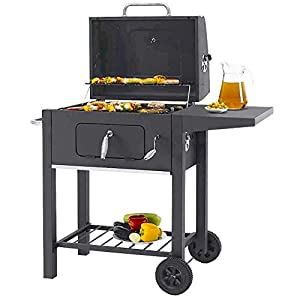 garden mile® Large Trolley BBQ Charcoal Smoker | Black Steel Barbeque with Adjustable Height Cooking Grill | Heat…