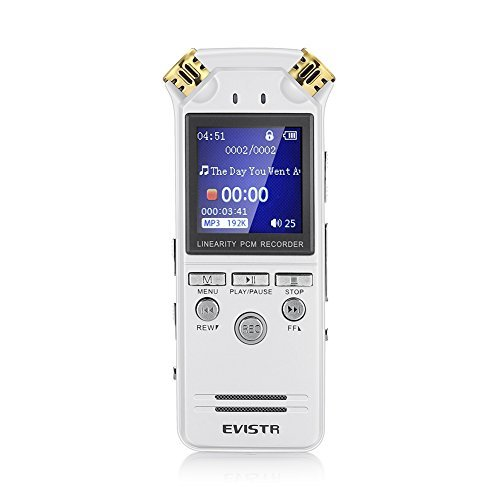 EVISTR L150 Digital Voice Activated Recorder 8G Stereo Audio Recording with 2 Microphone , AGC Crystal Clear Voice