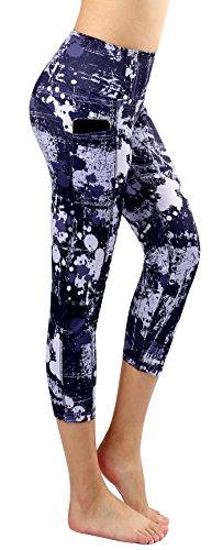 Neonysweets Women's Printed Capri Pants High Waist Tummy Control Workout Pants Leggings with Pocket L