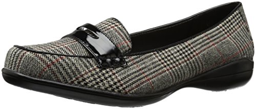 Black Plaid Flat Shoe (Soft Style by Hush Puppies Women's Daly Penny Loafer, Black Plaid/Patent, 10 W US)