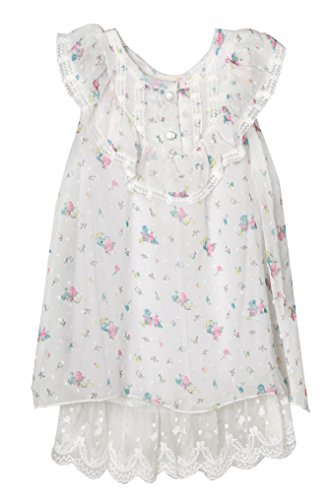 RH0297-A Richie House Little Girls' Lightly Flowered White Muumuu with Lace Hem