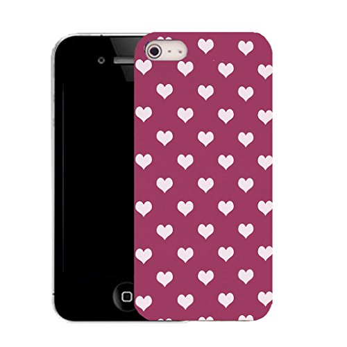 Mobile Case Mate IPhone 4 clip on Silicone Coque couverture case cover Pare-chocs + STYLET - white populous heart pattern (SILICON)