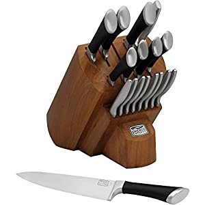 Chicago Cutlery Fusion 18-Piece Block Set , Forged Bolsters Keep Your Fingers Safe From Running Up On The Blade.