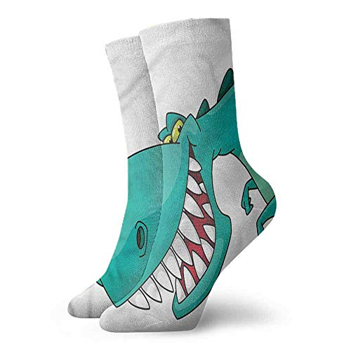 Patterned Socks Dinosaur Big Pointy Teeth Smiling Light Cushion Athletic Socks ()