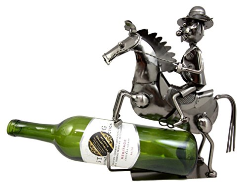 (Atlantic Collectibles Western Giddy Up Ranger Cowboy With Horse Hand Made Metal Wine Bottle Holder Caddy Decor 10.75