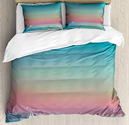 - Bruyu5se Wave Duvet Cover Set Twin Size - Ombre Sky and Reflections on Sea Tides Nautical Nature Landscape Serenity Solitude - Decorative 3 Piece Bedding Set with 2 Pillow Shams - Multicolor