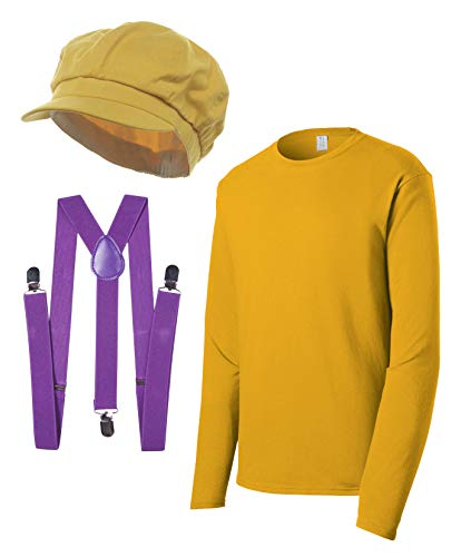 Super Plumber Brothers Friends Costume Kit (Hat, Shirt, Suspenders) -Yellow - -