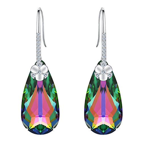EleQueen 925 Sterling Silver CZ Teardrop Flower Hook Dangle Earrings Vitrail Medium Made with Swarovski (Swarovski Medium Flower)