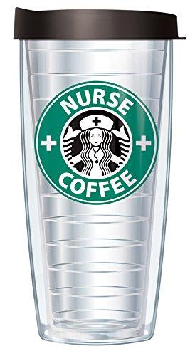 Nurse Travel Mug (Nurse Coffee Parady 16oz Mug Tumbler Cup with Lid)
