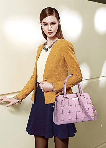 NICOLE&DORIS Nuevo Bolsos de Mano Totes para Mujer Monederos Mujer Bolsos Commuter Bandolera Impermeable Durable PU Azul Claro Púrpura