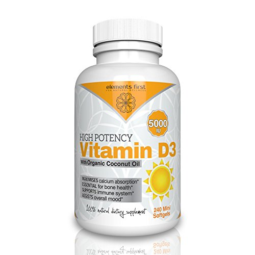 Vitamin D3 5000iu with Organic Coconut Oil for Maximum Absorption - 240 Mini Softgels supports Immune System and Bone Health