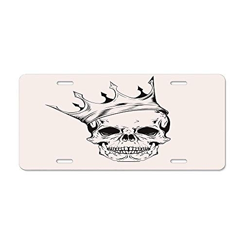 AUdddflsicenshf Mod Illustration of a Dead Skull King with His Crown in Vintage Style Power Art Car Licence Plate Covers Holders with Chrome Screw Caps for US Vehicles (Mod Tags Mom Name)