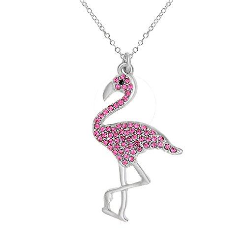 SENFAI Full Rhinestone Flamingo Bird Pendant Necklace for Women 18
