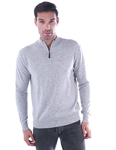 cashmere 4 U Men's 100% Pure Cashmere Pullover Half Zip Mock Neck Sweater Elbow Patch