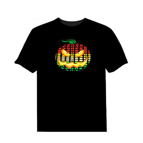 OLMIN Men Sound Activated Led Light Up and Down Flashing EL Rock Party DJ T Shirt XXL (T Shirts That Light Up)