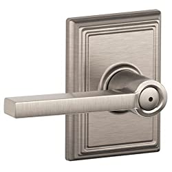 Schlage F40-LAT-ADD Latitude Privacy Door Lever Set with Decorative Addison Trim, Satin Nickel