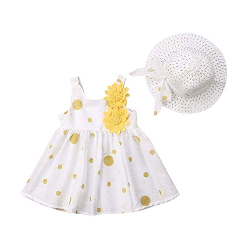 - Toddler Baby Girls Party Tutu Dresses Sleeveless Dot Bowknot Flower Dress with Straw Hat Summer Outfits Sundress (Yellow 2, 12-18 Months)