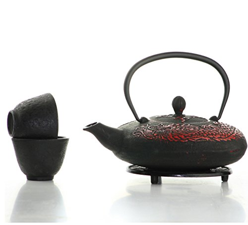 Black & Red Dragon Cast Iron Tea Set